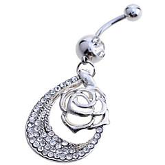 billige Kropssmykker-Roser / Blomst Sølv / Fuskediamant Navel Ring / Belly Piercing - Dame Hvit Luksus Kroppsmykker Til Fest / Daglig / Avslappet