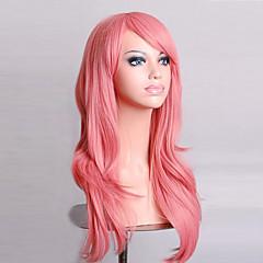 billiga Peruker och hårförlängning-Syntetiska peruker Lockigt / Naturligt vågigt Asymmetrisk frisyr Syntetiskt hår Naturlig hårlinje Rosa Peruk Dam Lång Kostym Peruk /