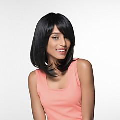billige Lågløs-Human Hair Capless Parykker Menneskehår Kinky Glat Side del Medium Maskinproduceret Paryk Dame