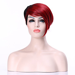 cheap Wigs & Hair Pieces-Synthetic Wig Women's Straight Red Synthetic Hair Red Wig Short Capless Black / Burgundy hairjoy