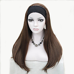 cheap Wigs & Hair Pieces-fashion half wig 3 4 wigs with headband long straight synthetic hair wig colour choices