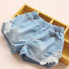baratos Roupas de Meninas-Menina de Shorts,Casual Patchwork Algodão Verão Azul