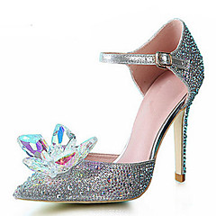 cheap Wedding Shoes-Women's Shoes Synthetic Glitter Spring Summer Stiletto Heel Crystal Sequin Sparkling Glitter for Wedding Party & Evening Dress Silver
