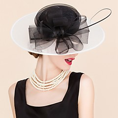 cheap Party Headpieces-Tulle Flax Hats Headwear with Floral 1pc Wedding Special Occasion Casual Headpiece