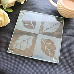 Leaf Glass Coaster (Set of 1) Beter Gifts® Wedding Favor Party Supplies