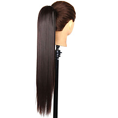 cheap Wigs & Hair Pieces-claw clip drawstring synthetic 24 inch long straight ponytail