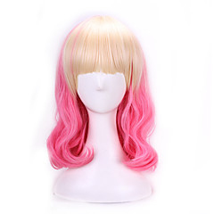tanie Peruki syntetyczne-Peruki syntetyczne / Peruki do kostiumów Naturalne fale Różowy Włosy syntetyczne Włosy ombre Różowy Peruka Damskie Bez czepka