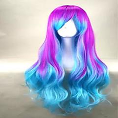 baratos Perucas Sintéticas-hairjoy Perucas sintéticas Ondulado / Ondulação Larga Com Franjas Cabelo Sintético Peruca Mulheres Sem Touca Verde Azul