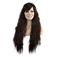 billiga Peruker och hårförlängning-Syntetiska peruker Naturligt vågigt Syntetiskt hår Brun Peruk Dam Lång Utan lock