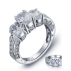 2016 Luxurious Engagement Classic Square Diamond 925 Sterling Silver Wedding Rings