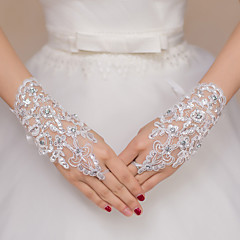 cheap Party Gloves-Lace Polyester Wrist Length Glove Bridal Gloves Party/ Evening Gloves With Rhinestone