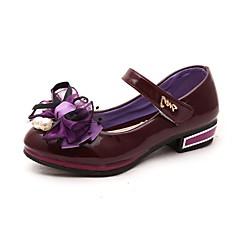 ウェディング ドレスシューズ パーティー-エナメル-ローヒール-コンフォートシューズ 靴を点灯-ヒール-ブルー ピンク パープル レッド