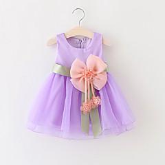 billige Babykjoler-Baby Pige Rosette / Pænt tøj Fest Ensfarvet Uden ærmer Bomuld Kjole