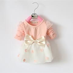 billige Pigekjoler-Baby Pige Punkt / Rosette I-byen-tøj Sort og hvid Prikker / Patchwork Langærmet Lang Kjole