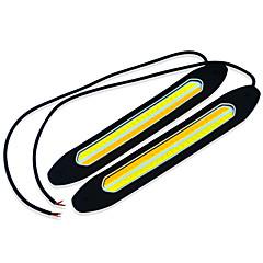 billige Kjørelys-Jiawen hvit + gult lys 2-cob ledet 400lm bil kjørelys (st 12v / 2stk)