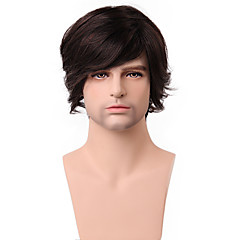 cheap Wigs & Hair Pieces-Human Hair Capless Wigs Human Hair Wavy With Bangs Side Part Short Capless Wig Men's