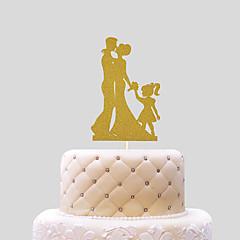 billige Kakedekorasjoner-Kakepynt Strand Tema Klassisk Tema Klassisk Par Kort Papir Bryllup med Sløyfe 1 OPP