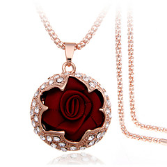 cheap Necklaces-Women's Roses Flower Party Casual Fashion Gift Boxes & Bags Pendant Necklace Rhinestone Fabric Rose Gold Plated Imitation Diamond Alloy