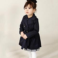 billige Jenteklær-jenter daglig solid farget trench coat, bomull våren faller lange ermer street chic