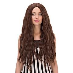 billiga Peruker och hårförlängning-Syntetiska peruker Naturligt vågigt Syntetiskt hår Brun Peruk Dam Lång svart peruk Utan lock