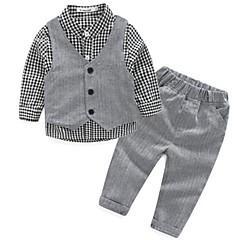 billige Tøjsæt til drenge-Drengens Jakkesæt og blazer / Tøjsæt Bomuld Plaid Casual/hverdag Forår / Efterår Grå