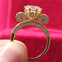 Anéis Fashion Casamento Jóias Prata de Lei / Strass Feminino Anéis Grossos 1pç,5 / 6 / 7 / 8 / 9 / 8½ / 9½ / 4 Dourado