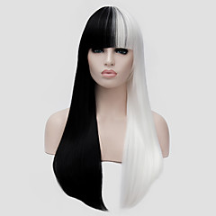 cheap Wigs & Hair Pieces-white and black long straight hair and the wind nightclub performances street color million with a partial wig