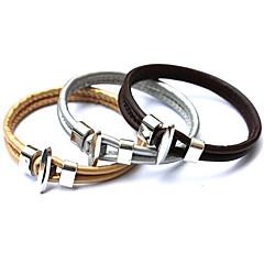 Fashion Vintage Punk Bracelet Women Metal Bilayer PU Leather Bracelets&Bangles Men Jewelry