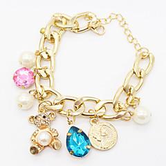 Fashion DIY Jewelry Punk Gold Chain Rhinestone  Bear Crystal Water Drops Pearl Pendant Bracelets Women Accessories Gift
