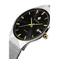 WWOOR Herrn Kleideruhr Armbanduhr Quartz Japanischer Quartz Kalender Wasserdicht Nachts leuchtend Edelstahl Band Luxus Freizeit Silber