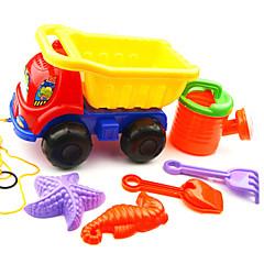 brinquedos 6-peças praia de areia definido com caminhão, pote de água, 2 ferramentas manuais e 2 modelos