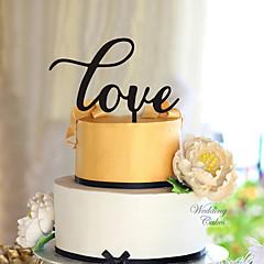 קישוטים לעוגה לא מותאם אישית לבבות אקרילי חתונה פרחים שחור נושא קלאסי 1 קופסת מתנה