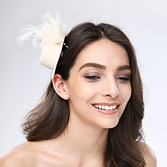 cheap Party Headpieces-Tulle Feather Fabric Fascinators Headpiece Classical Feminine Style