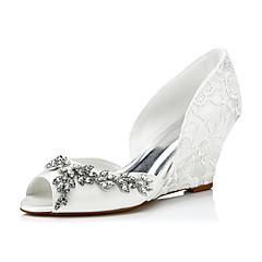 Sandaler-Silke-Komfort-Dame-Elfenbensfarvet-Bryllup Formelt Fest/aften-Kilehæl