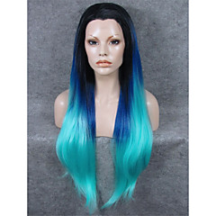 cheap Drag Wigs-Synthetic Wig Straight Blue Women's Lace Front Lace Wig Synthetic Hair