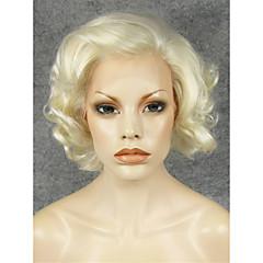 billiga Peruker och hårförlängning-Syntetiska snörning framifrån Lockigt Syntetiskt hår Naturlig hårlinje / Sidodel Blond Peruk Dam Korta Spetsfront