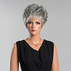 cheap Wigs & Hair Pieces-Human Hair Capless Wigs Human Hair Curly Pixie Cut / With Bangs Side Part Short Wig Women's
