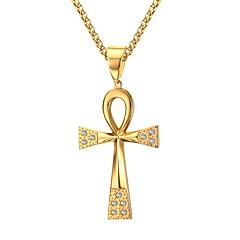 Heren Hangertjes ketting Bergkristal Kruisvorm Roestvast staal Strass Verguld Gesimuleerde diamant PERSGepersonaliseerd Kostuum juwelen