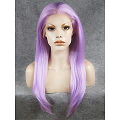 billiga Perukfest-Syntetiska peruker Rak Syntetiskt hår Lila Peruk Spetsfront Lila