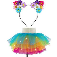 Led Light Up Tutu & Led Daisy Headband Set For KidsGirlsAdultsHalloween CoustumeChristmas GiftRave TutuCoachella