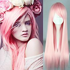 Χαμηλού Κόστους Περούκες μεταμφιέσεων-Συνθετικές Περούκες / Περούκες Στολών Ίσιο Ροζ Συνθετικά μαλλιά Ανθεκτικό στη Ζέστη Ροζ Περούκα Γυναικεία Χωρίς κάλυμμα / Ναι
