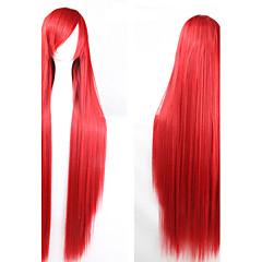 billiga Peruker och hårförlängning-Syntetiska peruker Dam Rak / Yaki Syntetiskt hår Peruk Utan lock Röd