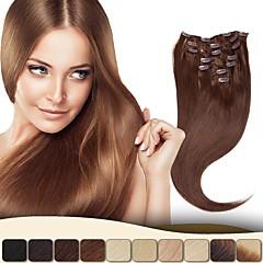 baratos Extensões de Cabelo Natural-Com Presilha Extensões de cabelo humano Liso Cabelo Virgem Mulheres Diário