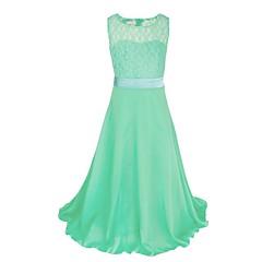 tanie Odzież dla dziewczynek-Dzieci Dla dziewczynek Impreza Jendolity kolor Koronka Bez rękawów Maxi Sukienka