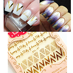 Cheap nail stickers online nail stickers for 2017 1sheet 3d nail art stickers gold v shape heartbeat nail decals tips decoration prinsesfo Choice Image