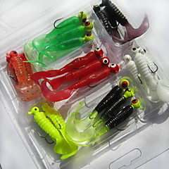 21 pcs Soft Bait Fishing Lures Worms Grub g/Ounce mm inch,Soft Plastic Sea Fishing Freshwater Fishing