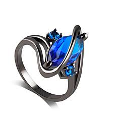 Anel Safira imitação Sapphire Liga Strass imitação de diamante Roxo Azul Jóias Casamento Festa 1peça