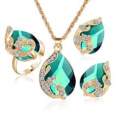 baratos Conjuntos de Bijuteria-Mulheres Cristal Sapphire sintético Esmeralda Sintética Conjunto de jóias - Cristal, Strass, Chapeado Dourado Incluir Conjuntos de anéis Verde / Azul / Branco / Branco Para Casamento Festa / Anéis
