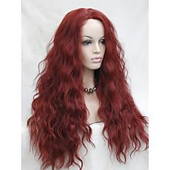 tanie Peruki syntetyczne-Syntetyczne koronkowe peruki Falowana Włosie synetyczne Naturalna linia włosów Czerwony Peruka Damskie Siateczka z przodu Czerwony