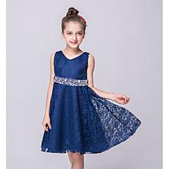 tanie Odzież dla dziewczynek-Dzieci Dla dziewczynek Wyjściowe Jendolity kolor Bez rękawów Sukienka